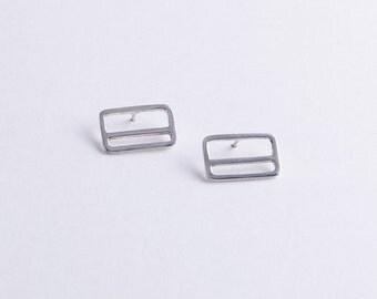 Sterling Silver Metrocard Earrings - Abstract Minimalist Stripe Earrings
