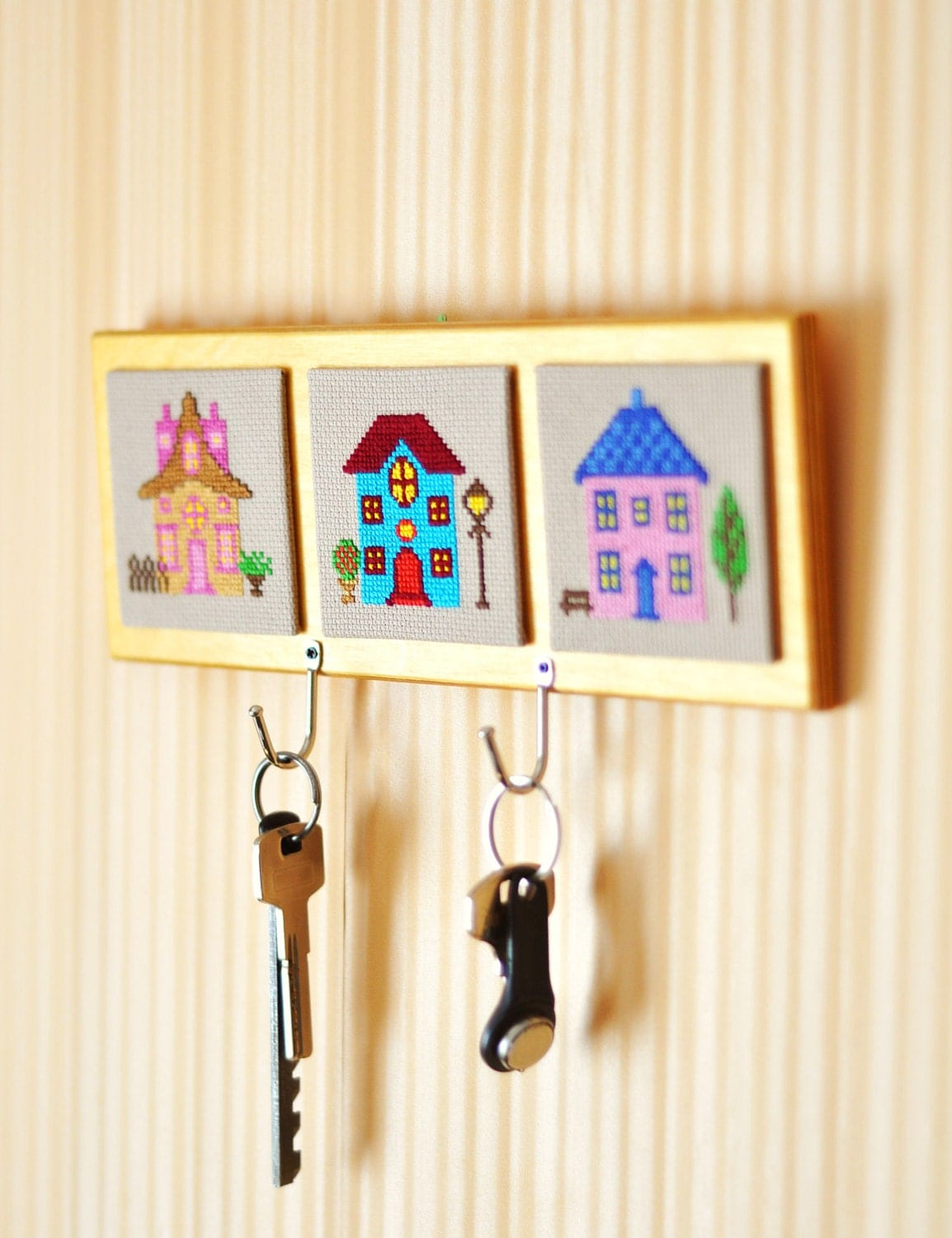 Key Holder Wall Home Decor Key Rack Embroidery By