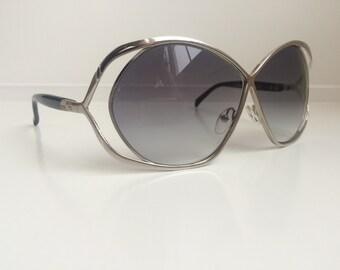 Vintage Sunglasses - Oversized Silver Sunglasses - Large Round Oval Sunglasses -  Metal Frames California So Cal Optique Deadstock NOS 9