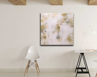 Gold leaf / whites / grays / textured abstract at on 30 x 30 canvas   Abstract / metallic / modern / minimalist / texture