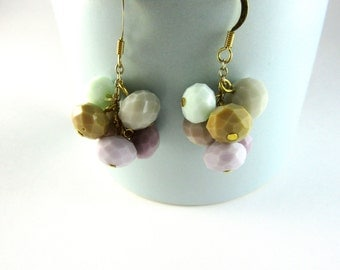 Pretty Pastels *GELATO* Colorful Glass Bead Cluster Dangle Earrings