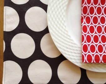 Polka Dot Placemats, Chocolate Brown and Cream Placemats, Modern Cloth Placemats