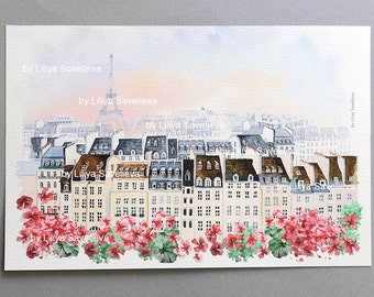Paris watercolor,France, Paris print, Poster, Wall art, Art print,