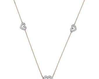 Diamond Heart Shaped Pendant. Heart Shaped Necklace. Diamond Necklace. Rose Gold Necklace. Anniversary Gift. 14K Rose Gold