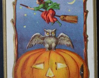 Halloween Postcard Conwell Witch Pumpkin Owl