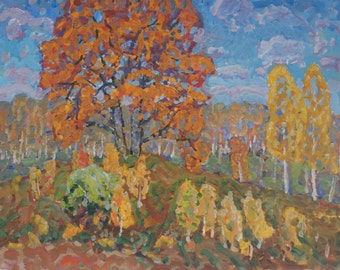 VINTAGE IMPRESSIONIST ARTWORK Original Oil Painting by G.Kolosovsky 1970s Autumn landscape Soviet Ukrainian art, High Quality, One of a kind