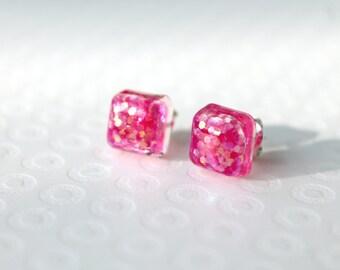 Pink Glitter Earrings - Glitter Studs - Glitter Earrings - Sparkly Earrings - Resin Earrings - Stud Earrings - Post Earrings