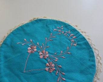 Vintage Blue & Pink Mexican Embroidered Tortilla Warmer