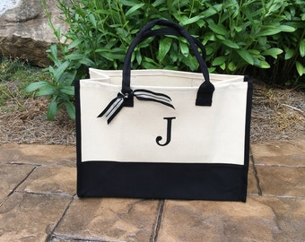 Initial Canvas tote bag – personalized letter – mud pie