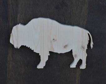 Buffalo Woodland Animal Wood Cutout