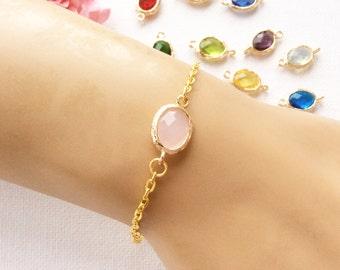 Birthstone bracelet, October birthstone, October birthday, quartz birthstone, Bridesmaids gift, birthstone, Customizable Birthstone Pendant