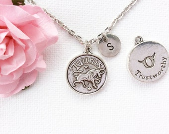 Taurus Zodiac Sign Astrology Necklace, Zodiac charm, taurus necklace, star sign necklace,star sign necklace, April and May birthday