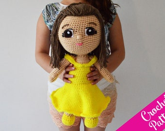 20 in. Yellow Dress Princess Crochet Pattern - Crochet Doll - Amigurumi - Instant PDF Download