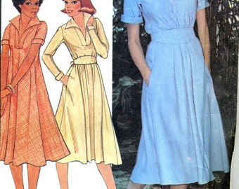 McCall's vintage sewing pattern 6079 modern bias cut casual dress - Size 14