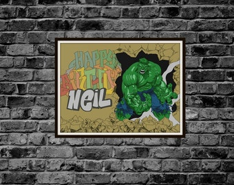 Custom Marvel Incredible Hulk - Art Print - Graffiti