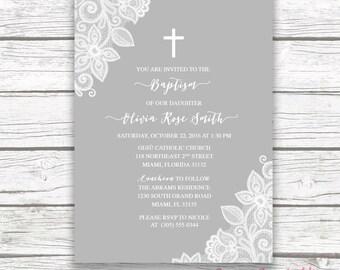 Baptism Invitation Girl, Lace Baptism Invitation, Christening Invitation Girl, First Communion Invite, Cross Invitation Printable