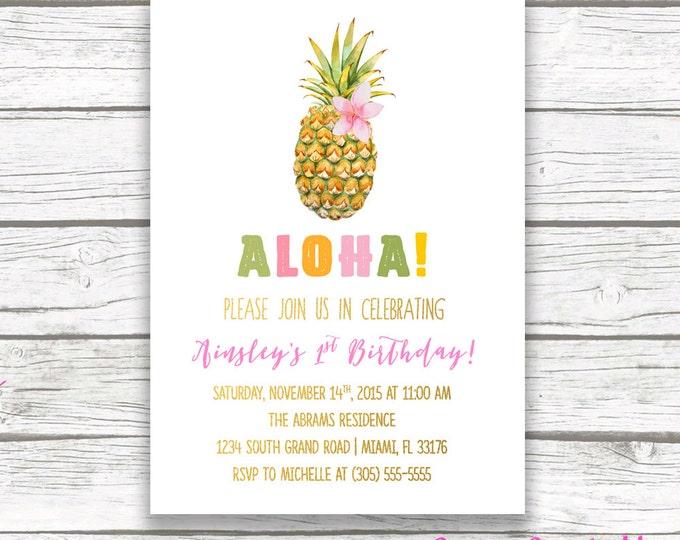 Pineapple Birthday Invitation, Luau Birthday Invitation, First 1st Birthday Invitation Girl, Tropical Birthday Invitation, Printable Invite
