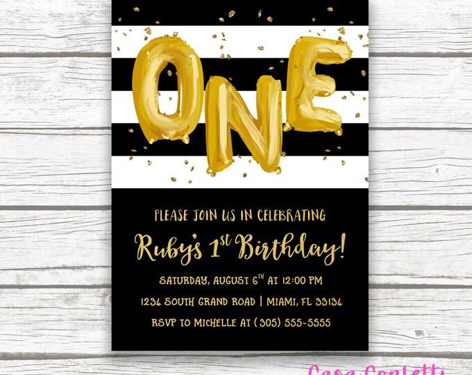 First Birthday Invitation Girl, Black and White Birthday Invitation, Gold Balloon Birthday Invitation, Striped Birthday Invite, Printable