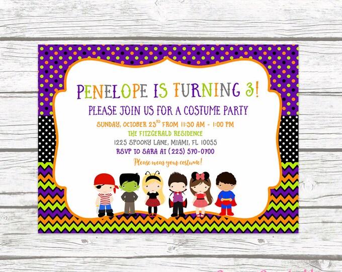 Kids Halloween Party Invitation, Halloween Birthday Party Invitation, Costume Party Invitation, Kids Costume Party Invite,  Printable