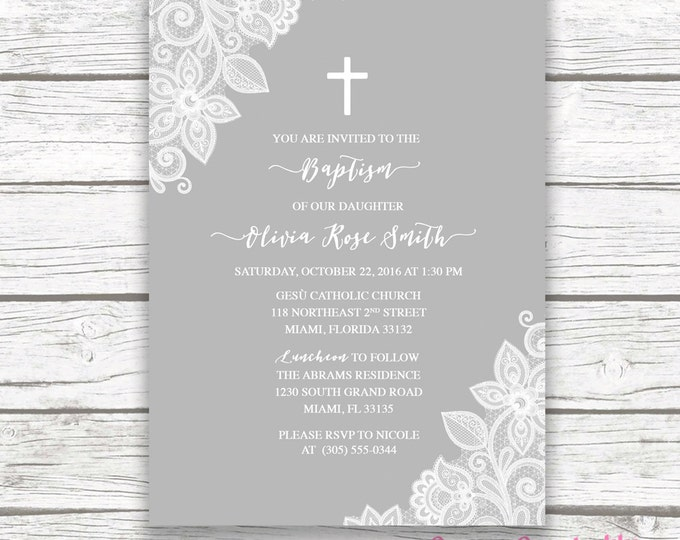 Baptism Invitation Girl, Lace Baptism Invitation, Christening Invitation Girl, First Communion Invite, Cross Invitation Printable