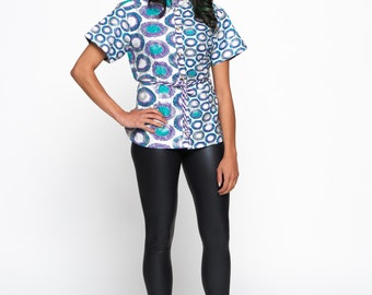 Teal Multicoloured Woodin Ankara African Print Belted Blouse