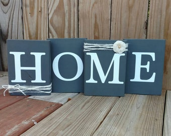 Rustic Home Sign, Rustic Home Mantle Decor, Wood Letter Blocks, Rustic Wood Letters, Mantle Decor, Home Wood Blocks, Housewarming Gift