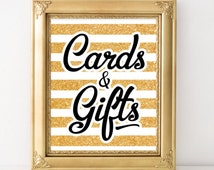 Card and gift sign Gold bridal shower decor printable Card box wedding gift and card sign DIY wedding sign  Gold  party sign template