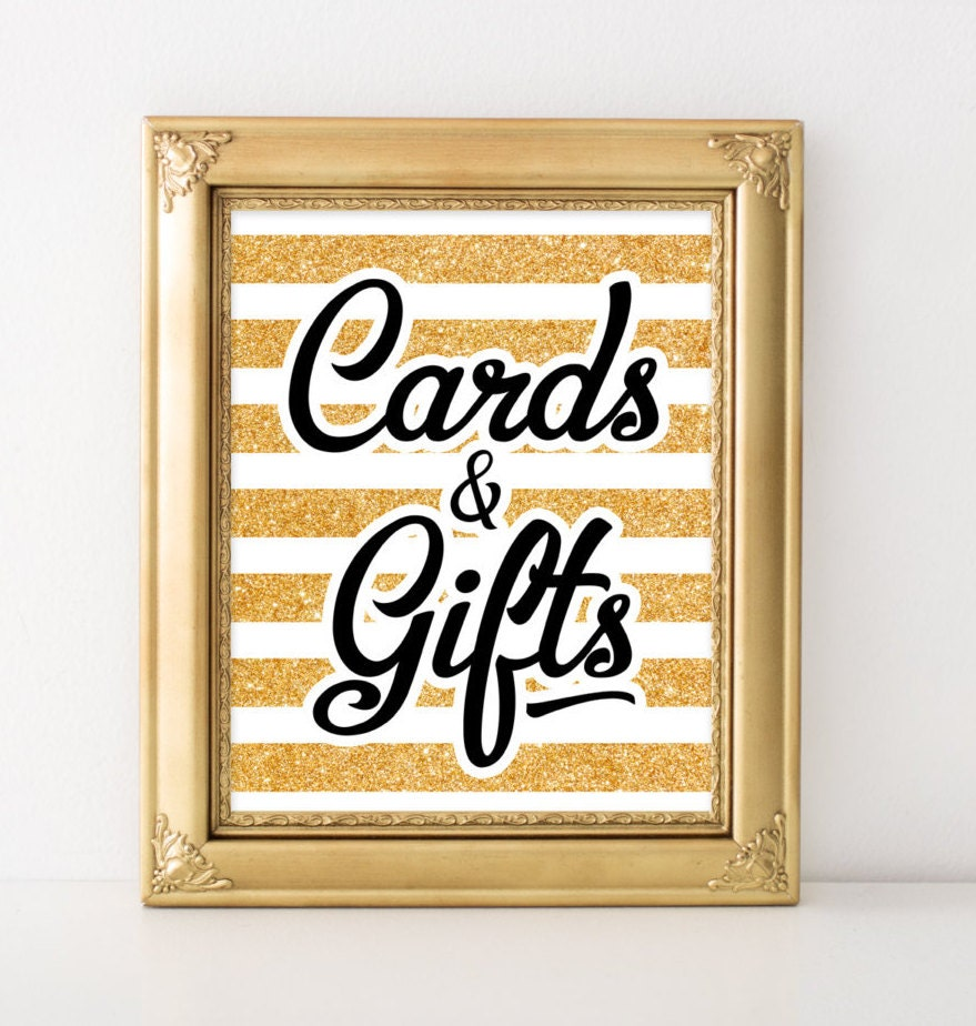 Wedding Gift Box Sign : Card and gift sign Gold bridal shower decor printable Card box