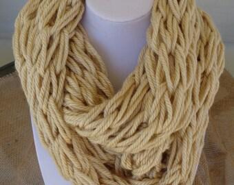 Infinity Scarf- Beige Infinity Scarf, Arm Knit Infinity Scarf, Handmade Infinity Scarf