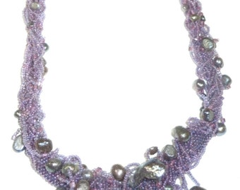 Baroque Pearl Necklace Kit - Fire Polish Pink