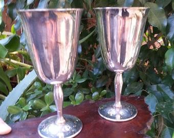 Vintage Silver Plate Wine Goblets, Vintage Decor, Tarnished Silver Goblets, Chalice Rustic
