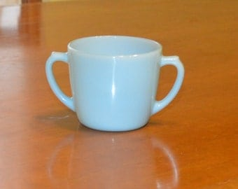 Fire King Turquoise Blue Open Sugar Bowl Anchor Hocking