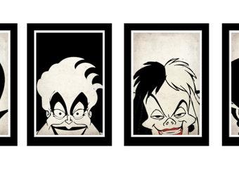 Disney Villains Poster Set of 6, Maleficent, Ursula, The Queen, Cruella De Vil