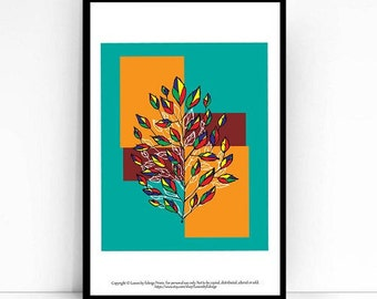 Modern Art Leaf Print - primary colors - red yellow blue green 8x10 inch artwork - Tree print - Fall decor - Kids room decor - Home decor