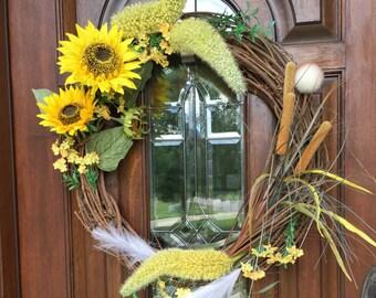 Sunflower and Plumes Wreath, Sunflower Wreath, Summer Wreath, Fall Wreath, Cattail Wreath