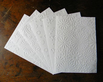 Any Occasion Embossed Greeting Card Set, April Blooms Pattern Card Set, White or Ivory, Set of 6 Cards with Envelopes, Handmade Card Set