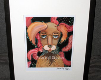 "FRAMED Art Print, Fantasy Art Print Wall Art, Whimsical Print By L. Rase Hall ""Sausage Dog"""