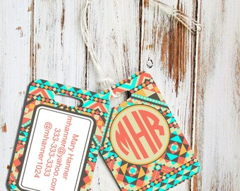 Aztec luggage tag, Monogram rear view mirror hanger, Customized car charm, Gift for daughter, Aztec print in turquoise coral (1272)