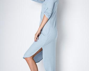 D10039: Long Hooded Half Button Down High Low Shirt Tail Hem Dress (MADE IN USA)