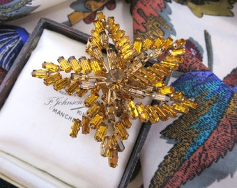 Large 1950's Vintage Crystal Brooch - Figural Maple Leaf with Golden Citrine & Topaz Baguette Rhinestones
