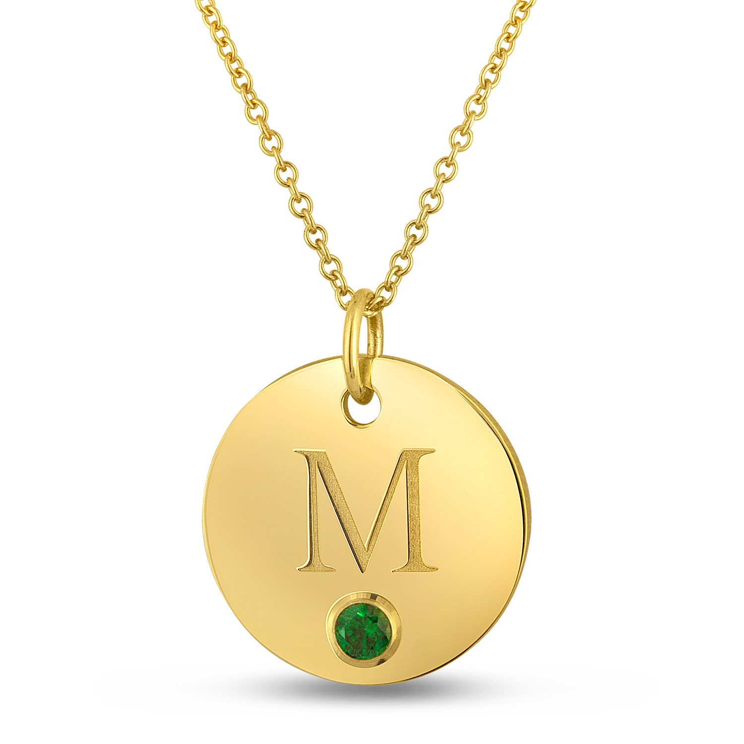 letter m necklace gold initial charm necklace birthstone