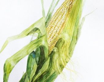 ORIGINAL Watercolor Painting, Corn watercolor, Art decor for kitchen, Corn with leaves, Home Decor, Corn, corn art, watercolor corn  OOAK