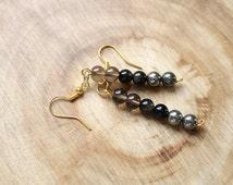 Pyrite Bead Earrings, Smoky Quartz Earrings, Golden Obsidian Earrings, Base Chakra Healing Jewelry, Jewelry Gift For Wife, Meditation, Yoga