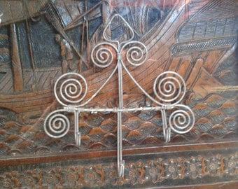 Vintage metal wire hooks ~ spiral detailing.