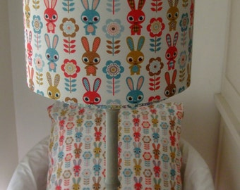Retro Bunnies - Handmade Childrens Lampshade 25cm Drum