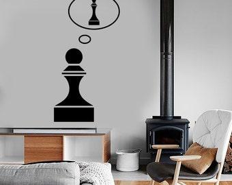 Wall Vinyl Decal Art Motivation Chess Pawn Queen Funny Decor 1312dz