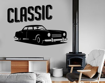 Wall Vinyl Decal Car Classic Retro Vechicle Amazing Garage Decor 1318dz