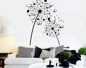 Wall Vinyl Music Notes Hearts Flower Floral Guaranteed Quality Decal  Mural Art 1522dz