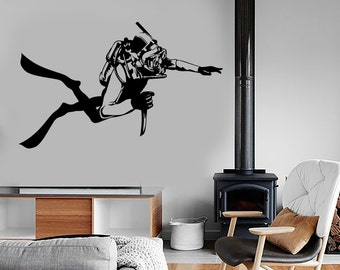 Wall Vinyl Navy Diver Saboteur Guaranteed Quality Decal Mural Art 1634dz