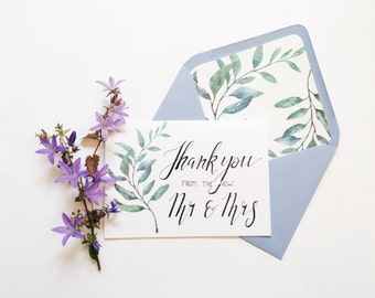 Wedding Thank You Card + lined envelope watercolour leaves thank you from the new Mr and Mrs